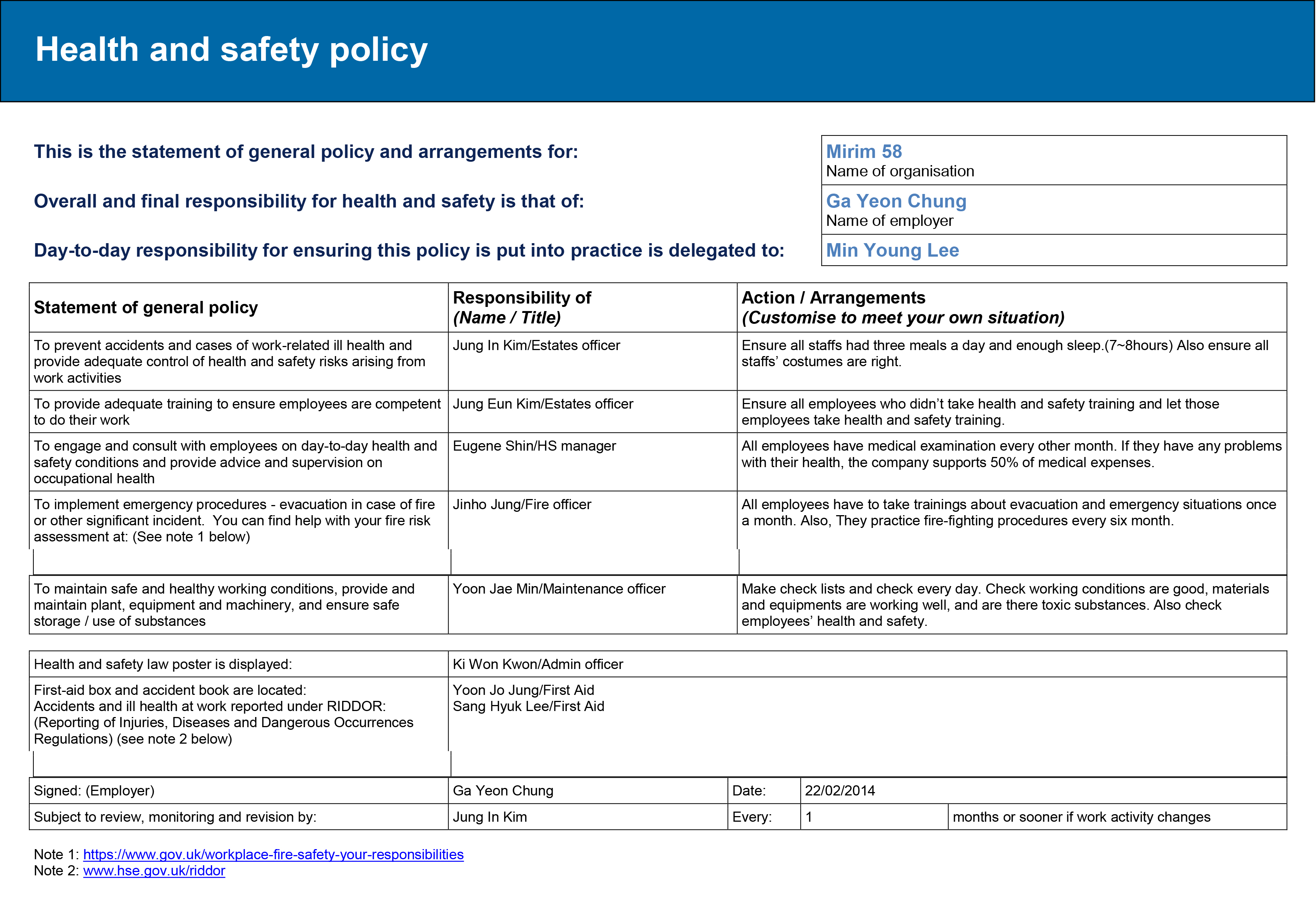 competency statement for safety